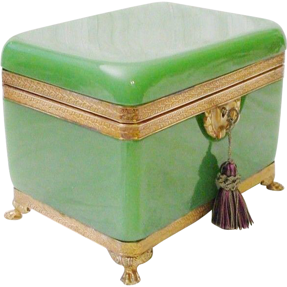 "Antique French Green Opaline Paw Foot Casket Hinged Box  ""BIG"""