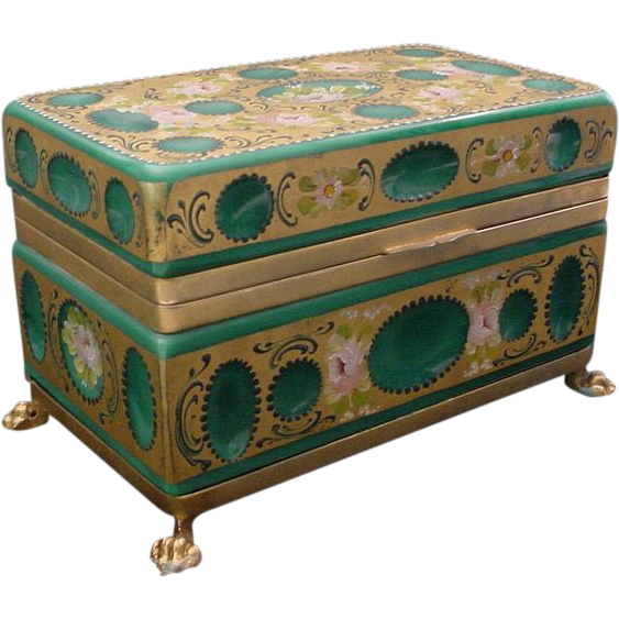 Glorious Antique French  Green Opaline Glass Casket Hinged Box