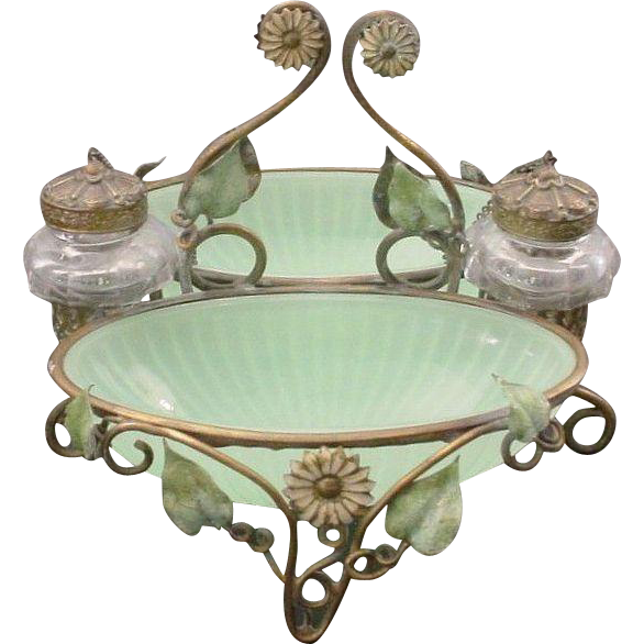 Antique French Baccarat Double Green Opaline Inkwell