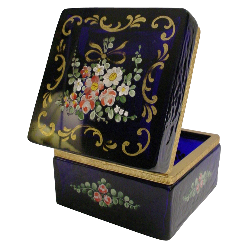 Antique French Cobalt Hinged Box with Pretty Flowers andGilding