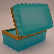 "Antique French Teal Opaline Hinged Box ""RARE SHAPE"""