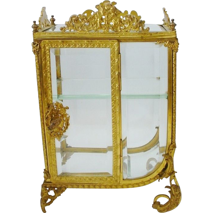 Grandest Antique French Miniature Curio Vitrine
