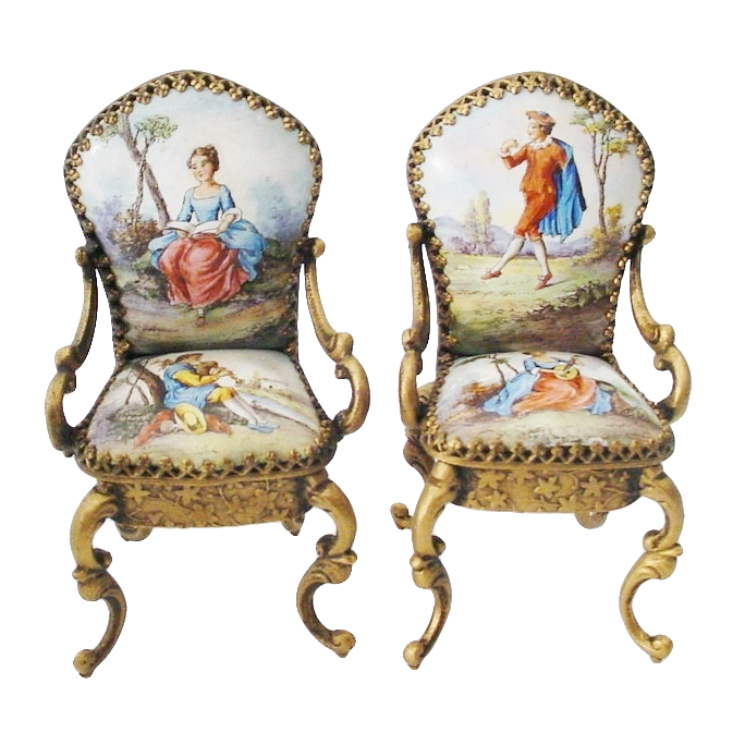 Pair Antique Vienna Enamel Miniature Chairs…