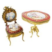 "Very Fine Antique Viennese Enamel Miniature Chair and Center Table ""PUTTI"""