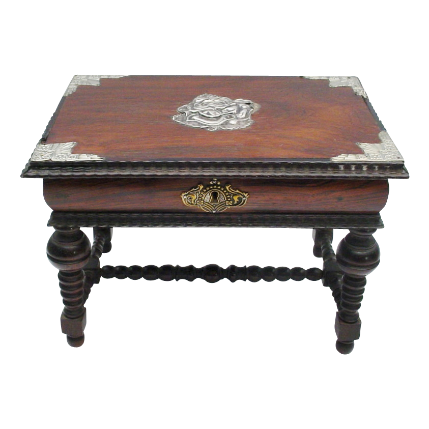 "Antique Miniature Rosewood Library Table ""VF Silver Overlaid Top"