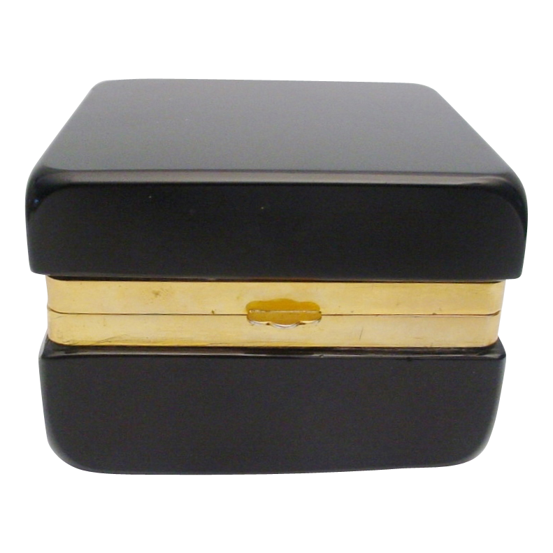Beautiful Antique Black Opaline  Hinged Box