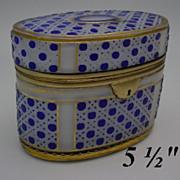 RL.     Antique Bohemian Cobalt Cut to White  Oval Casket Hinged Box