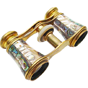 "Antique French Abalone Opera Glasses ""CHEVALLLER OPTIGIEN PARIS """