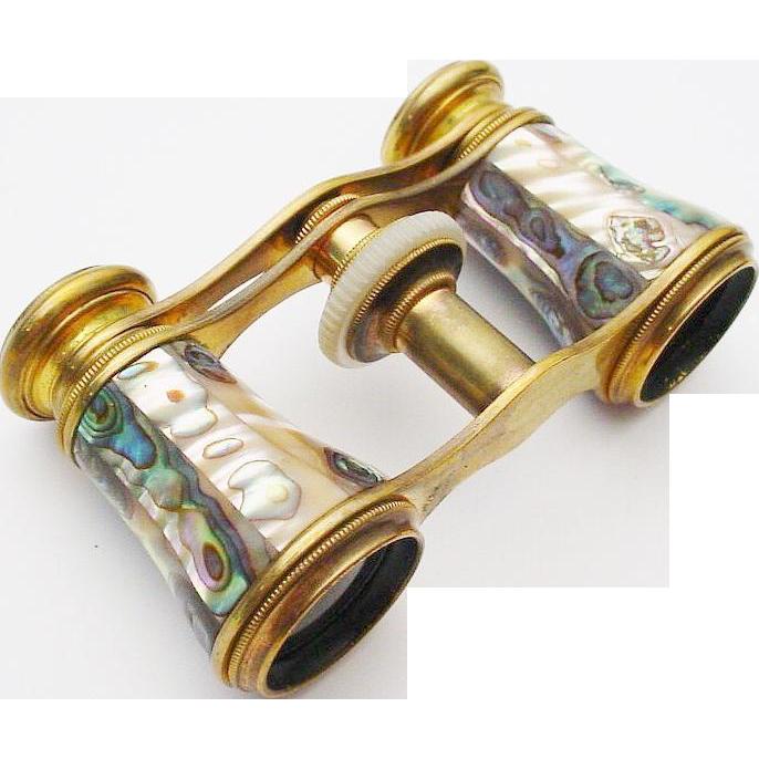 """Antique French Abalone Opera Glasses """"CHEVALLLER OPTIGIEN ..."""