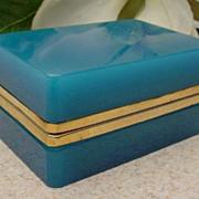 Antique Blue Opaline Hinged Box