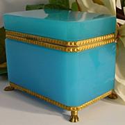"Spectacular Antique French Blue Opaline Casket "" Paw Feet"""