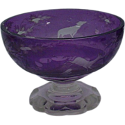 "RARE Antique Bohemian Purple Cut to Clear  Center Bowl ""Deer, Trees and Foliage"""
