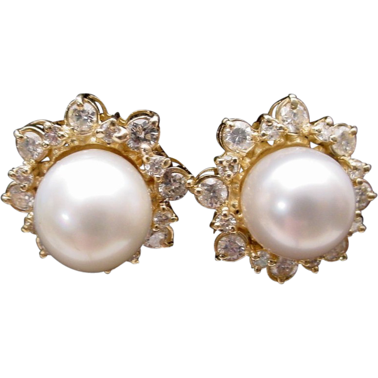 Magnificent Diamond & 10mm  Cultured Pearl Earrings