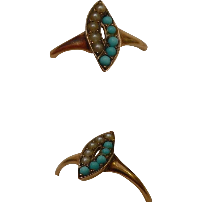 14 Karat Yellow Gold Pearl and Turquoise Ring