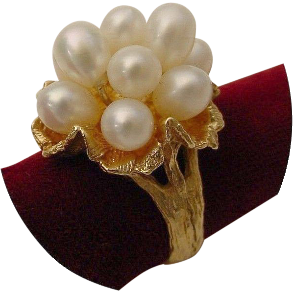 "Vintage   14 Karat Fresh Water Cultured Pearls ""  Bark Finish Flower"""