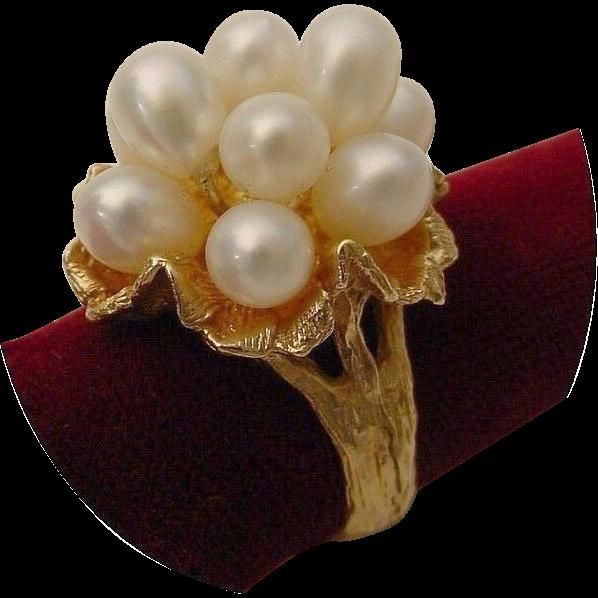 "Vintage   14 Karat Fresh Water Cultured Pearls ""  Bark Finish Flower"""