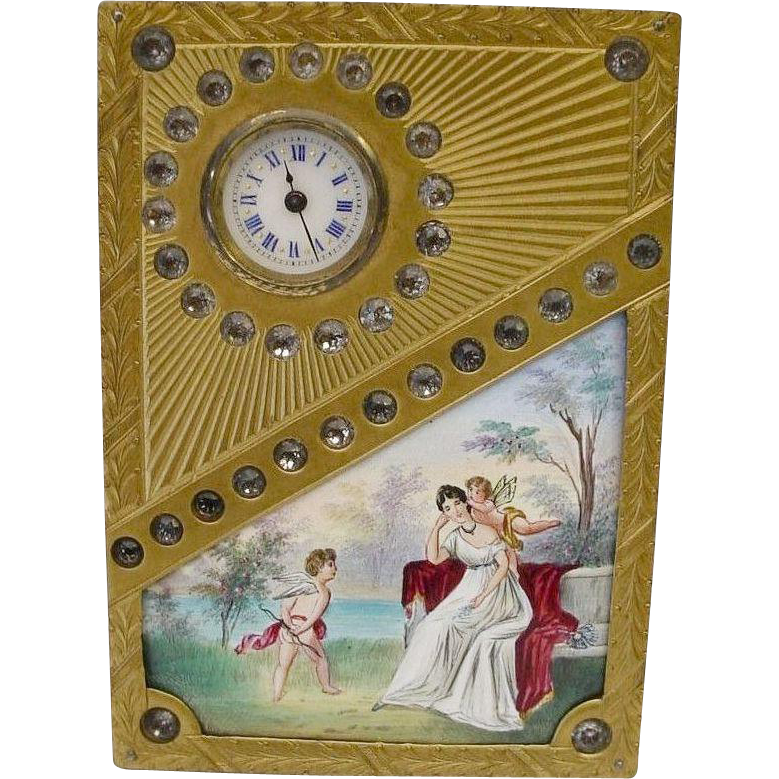 "Glorious Antique Jeweled Vienna Enamel Clock ""Two Winged Cherubs"""