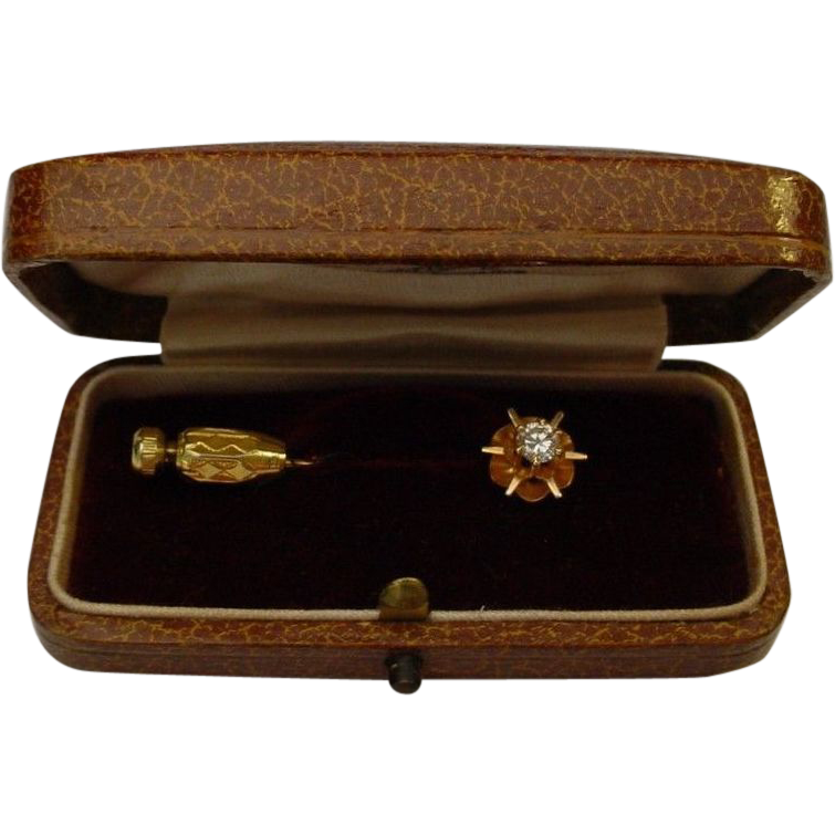 14 Karat  .25 Carat 4mm Diamond Stick Pin
