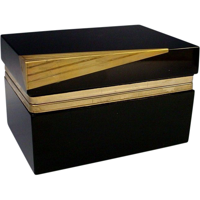 Fabulous Murano Black Glass Hinged Box