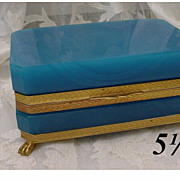 "Beautiful  Antique French Blue Opaline Casket Hinged Box ""Paw Feet"""