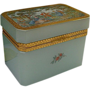 "Antique Blue Sea Foam Opaline Casket Hinged Box   ""RARE"