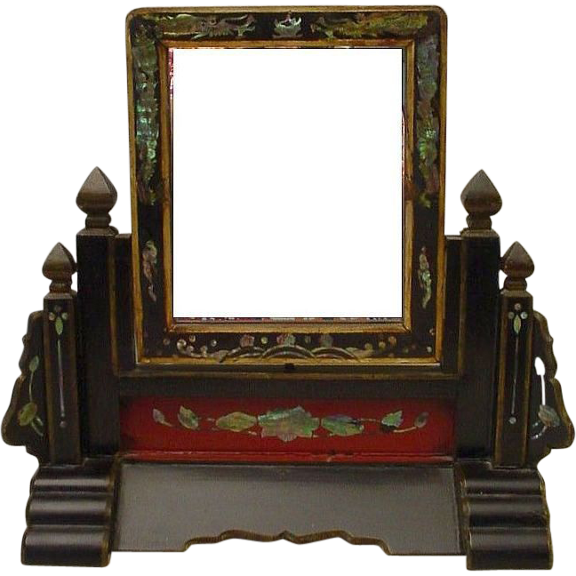 "Antique Chinese Table Vanity Mirror ""RARE"""