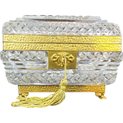 "Exquisite Antique Baccarat Crystal Casket Hinged Box ""'PAW FEET & RARE CUT"
