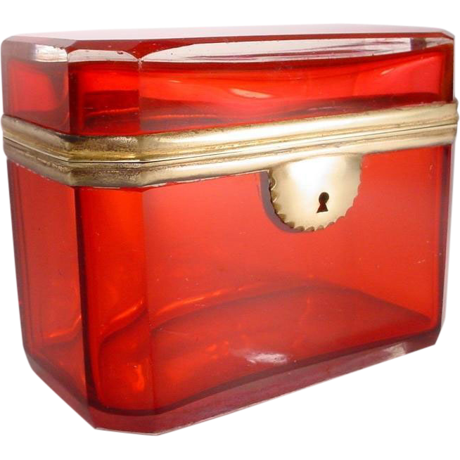 "Antique Bohemian Red Casket Hinged Box ""Very Fine Red Case Glass"""