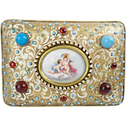 Glorious Austrian Jeweled Bronze Enamel Casket Hinged Box  'PUTTI  PLAQUE""