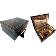 Stunning Antique Ebony Sewing Box Etui '5 PIECE GILT ETUI""