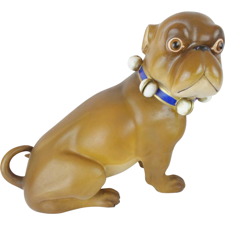 "Giant 16""Antique German Pug   ""BRIGHT BLUE BOW"""