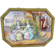 "Antique French Limoges Casket Hinged Box ""Nine Magnificent Enamel Plaques"""