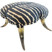 """Wonderful Antique Horn Foot Stool Covered in Zebra Suede """"CHARMING"""""""