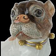 "Antique Dresden Porcelain Pug ""BELLS & A PINK BOW"""