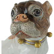 "Antique Dresden Porcelain Pug ""BELLS & A PINK BOW"""