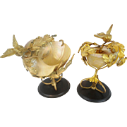 "Antique Pair Nautilus Shell W Bronze Compotes"" GRANDEST BIRDS"""