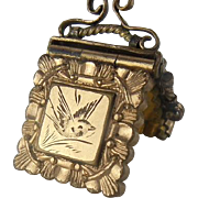 Antique Yellow Gold Filled Locket with Beautiful Engraved Bird