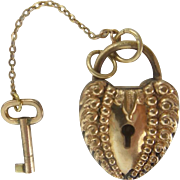Antique Gold Filled Lock with A working Key Pendant
