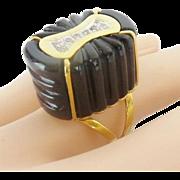 "Estate 14KARAT Yellow Gold Diamond Onyx Ring ""EXQUISITE & RARE"""