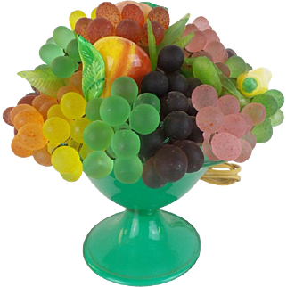 """Antique Italian Glass Fruit Lamp """" Overflowing with Grapes &  BIG Fruit"""""""