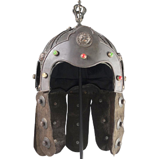Antique Jeweled Chinese Bronze & Leather Helmet