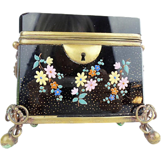 Antique Bohemian Double Handles Sugar Casket