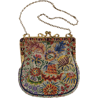 "Magnificent Austrian Jeweled Purse  ""AMETHYST & CARNELIAN"""