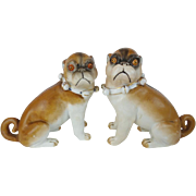 "PAIR 6"" Antique PUGS from Conte & Boehm ""Sassy Collars & Bells"""