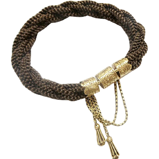 Antique 14KARAT  Mourning Woven Hair Bracelet W Engraved Mounts & Two Tassels Charms