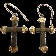 Georgian 14KARAT Hair Cross Crucifix  Earrings