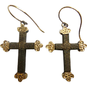 Georgian 14KARAT Hair Cross Crucifix  Earrings