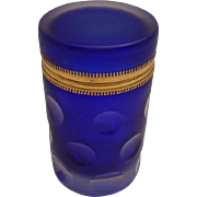 "Antique French Cobalt Glass Casket Hinged Box ""A TREASURE BOX"""