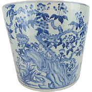 "Chinese  Blue & White Porcelain Planter ""BIRDS"""