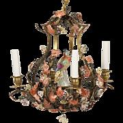 "CHARMING Bronze  Polychrome Metal Five Light Chandelier "" Porcelain Flowers & Porcelain Bird"""